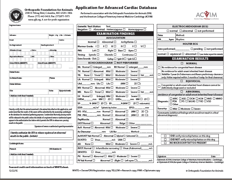 OFA's Advanced Cardiac Database form